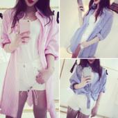Уникална дамска дълга раирана риза в син и розов цвят
