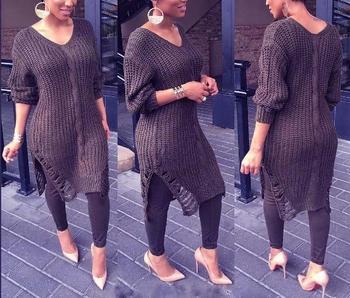 Дамски дебел пуловер тип туника с цепки в два цвята