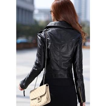 Γυναικείο κοντό μπουφάν από οικολογικό δέρμα με πλαϊνό φερμουάρ σε μαύρο και μπορντό χρώμα
