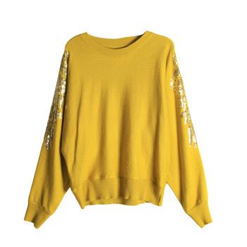 Есенно-зимен дамски пуловер с широки прилепови ръкави и пайети по тях в два цвята