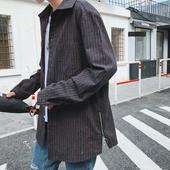Стилна мъжка дълга риза широк модел с малък цип от страни широк модел